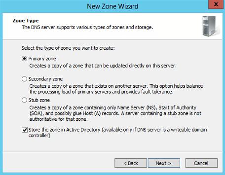 New Primary DNS Zone