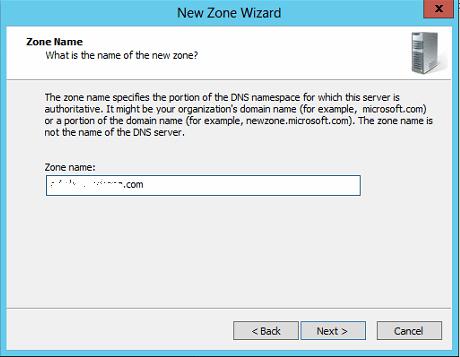 New DNS Zone Name