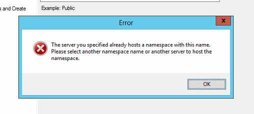 Namespace Already Hosts on Server