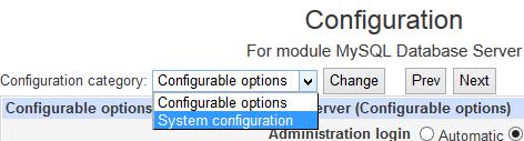 MySQL System Configuration in Webmin