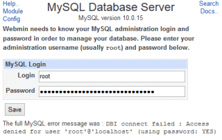 Update MySQL Administration User Credentials