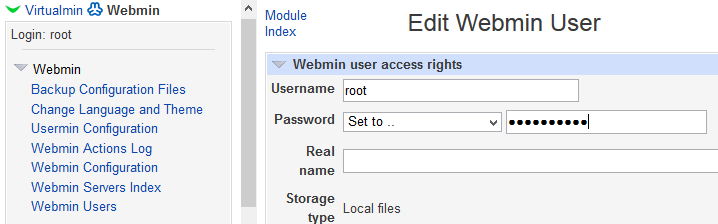 Change Webmin Root Password