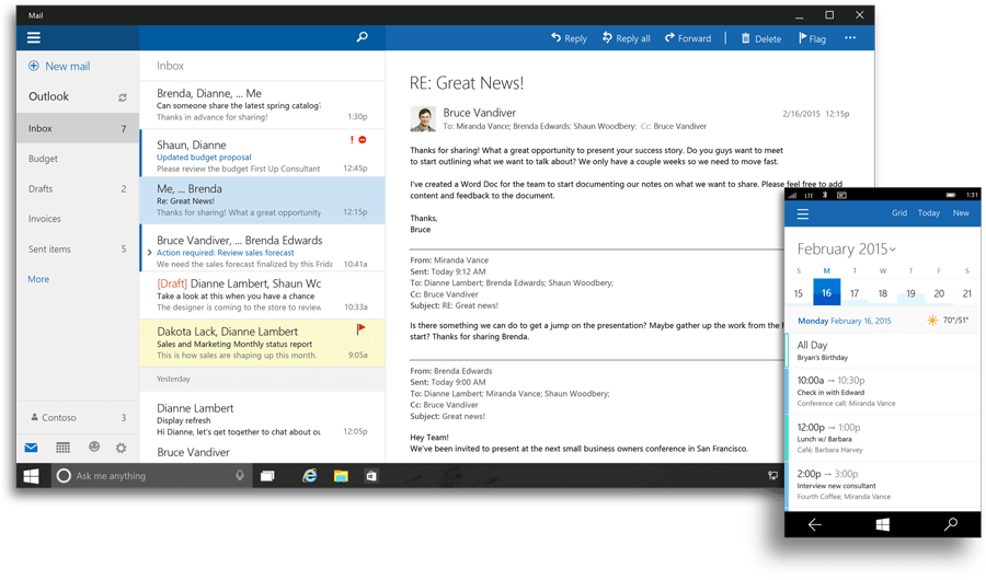 Outlook Mail and Outlook Calendar for Windows 10