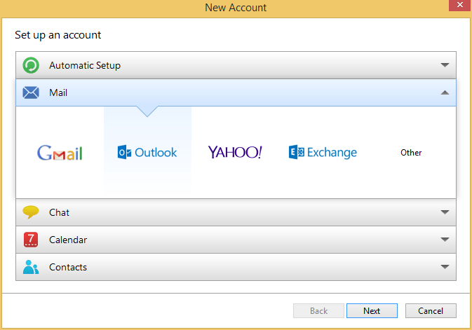 New Outlook Account in eM Client