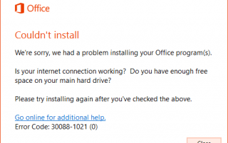 Office 2016 Preview Installation Error