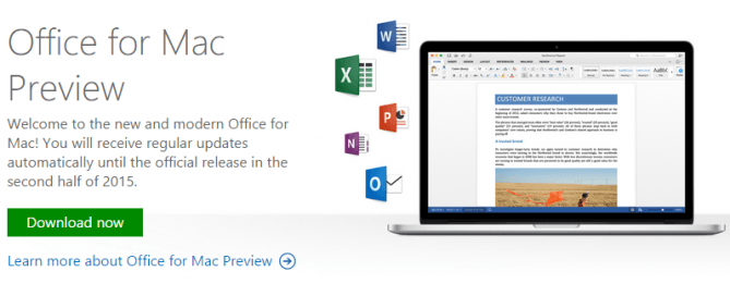 Office 2016 for Mac Preview Free Download