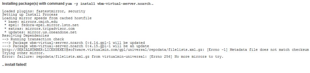 Webmin Metadata File Does Not Match Checksum