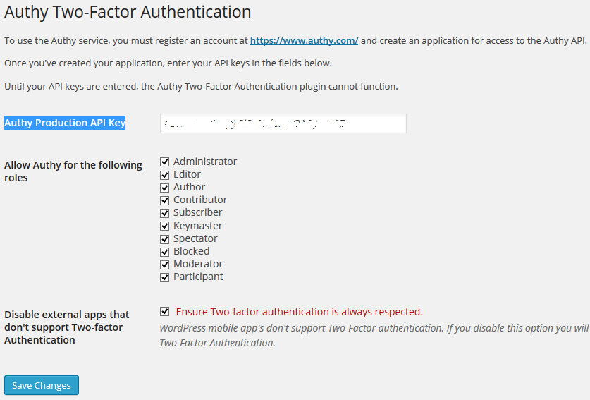 Authy WordPress Settings