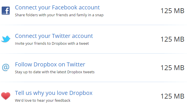 Dropbox Bonus Space with Facebook and Twitter