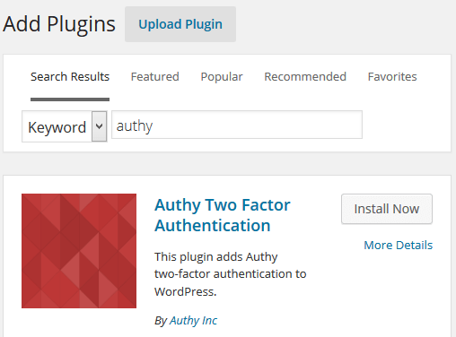 Install Authy Plugin for WordPress