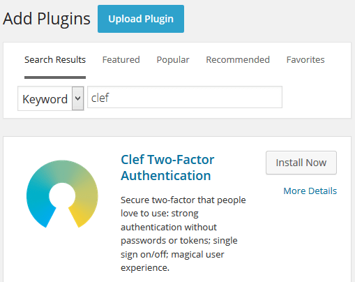 Install Clef Two-Factor Authentication Plugin in WordPress