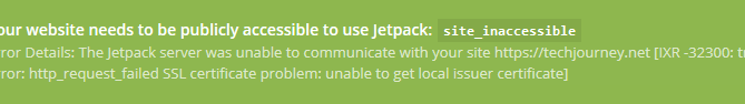 Jetpack SSL Connection Error
