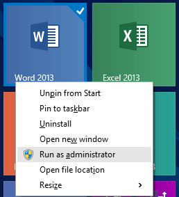 Run Office 2013 Apps as Administrator