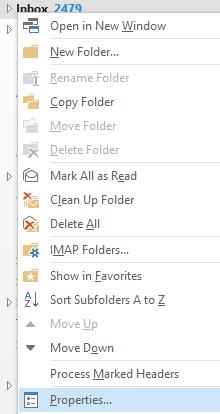 Outlook Folder Properties