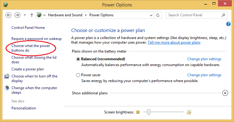Power Buttons Settings in Power Options