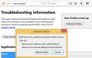 Reset Firefox or Refresh Firefox