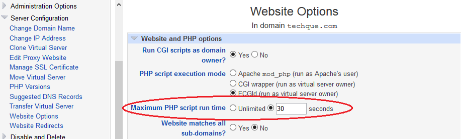 Set PHP Maximum Execution Time Limit
