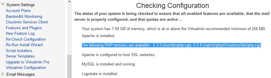Virtualmin Re-Check PHP Configs