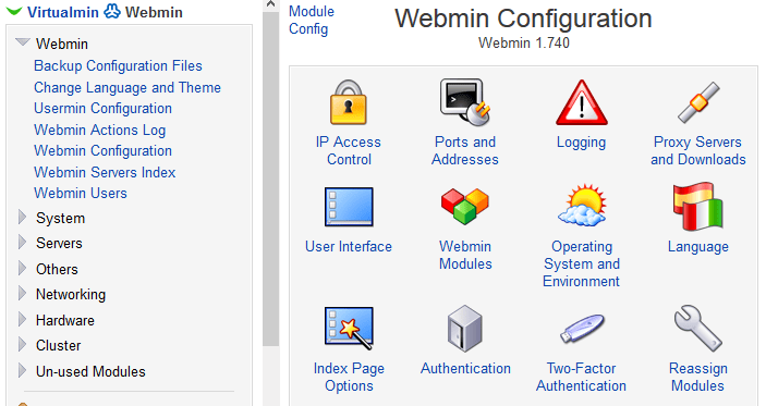 Webmin Configuration - Two-Factor Authentication