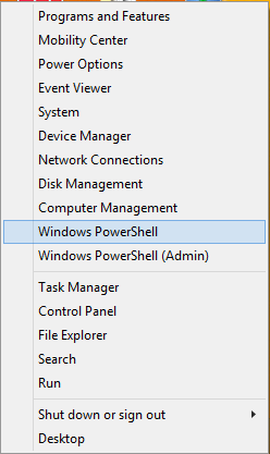 Windows PowerShell in Power User Quick Access Menu
