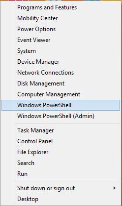 Windows PowerShell in Power User Quick Access Menu