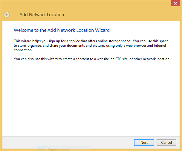 Add Network Location in Windows
