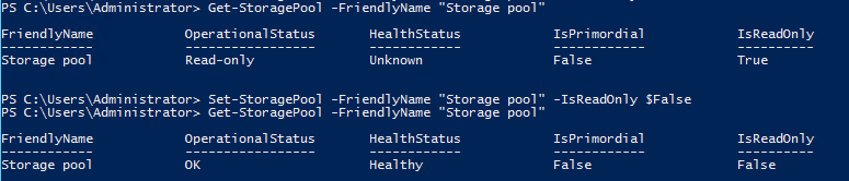 Reset Storage Pools Read-Only Status