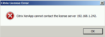 Citrix XenApp Cannot Contact the License Server