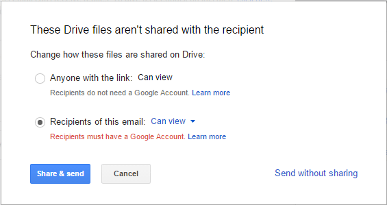 Shared Attachments Uploaded in Drive with Email Recipients Only
