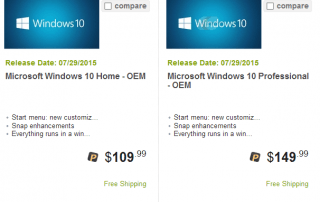 cost to upgrade win 10 home to win 10 pro