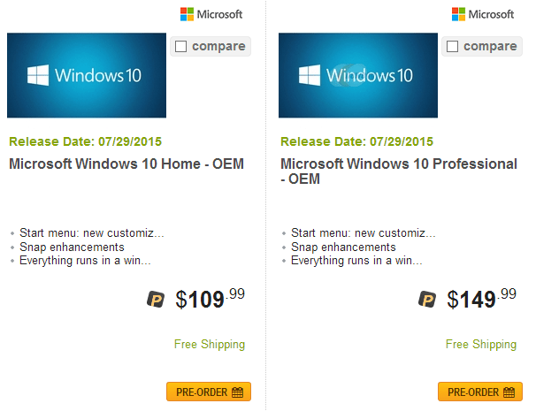 Windows 10 OEM Versions Price on Newegg