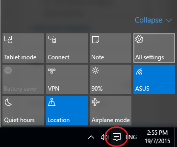 All Settings of Action Center Notification Bar