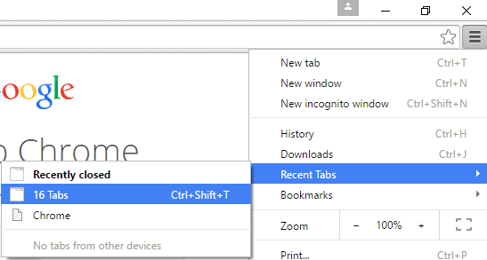 Chrome Restore Last Previous Session and Tabs