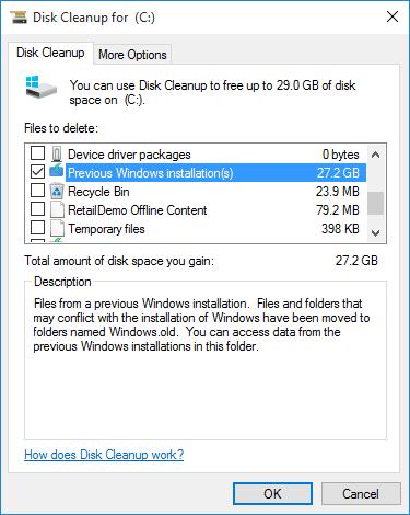 Delete Previous Windows Installations