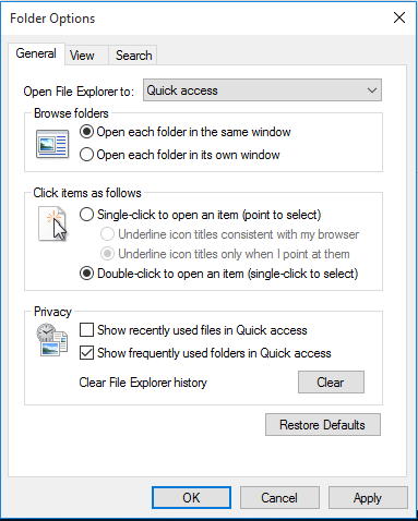 Remove Recently Used Files from Quick Access