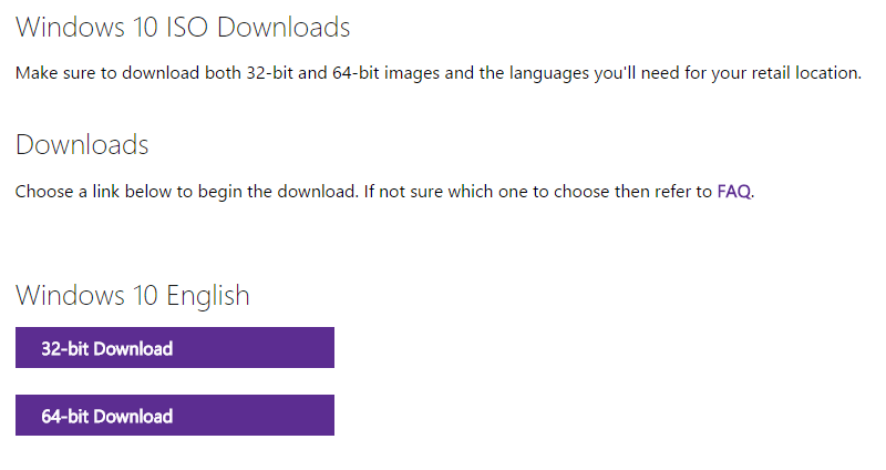 Download 32-bit and 64-bit Windows 10 ISO