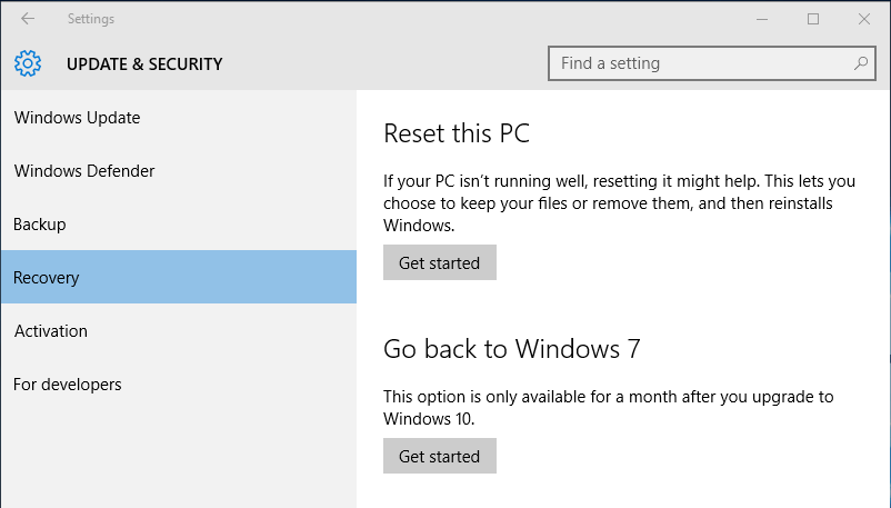 Go Back to Previous Version of Windows