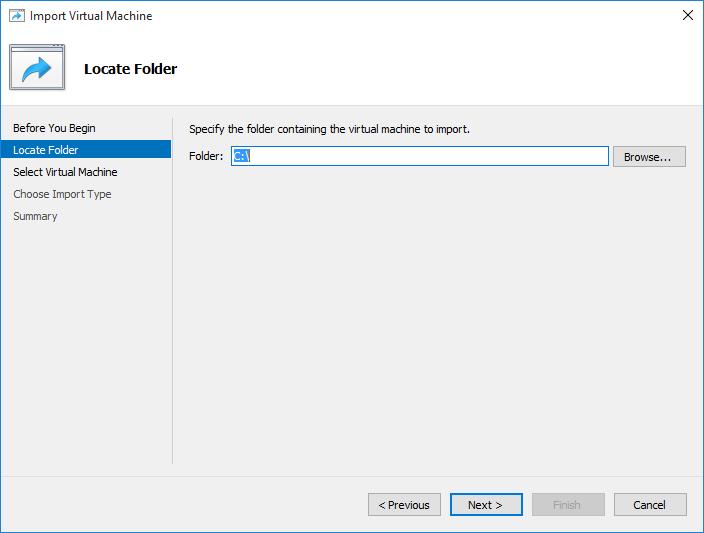 Import Virtual Machine in Hyper-V
