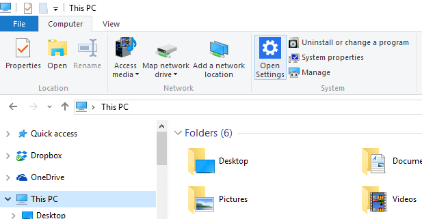 Open Settings via File Explorer