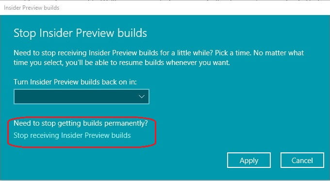 Pause Receiving Windows Insider Preview Builds