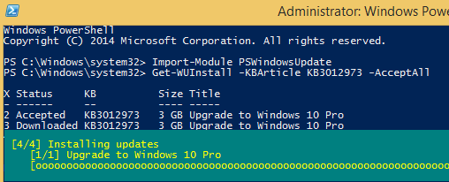 Install Windows 10 Upgrade via PowerShell