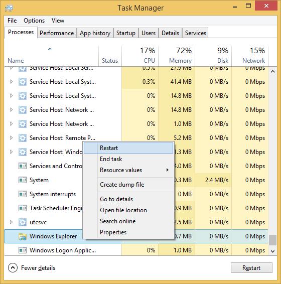 "Select Windows Explorer under ""Windows processes"" heading (if File ..."