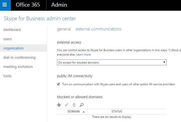 Enable Skype for Business / Lync Federation for External Communications