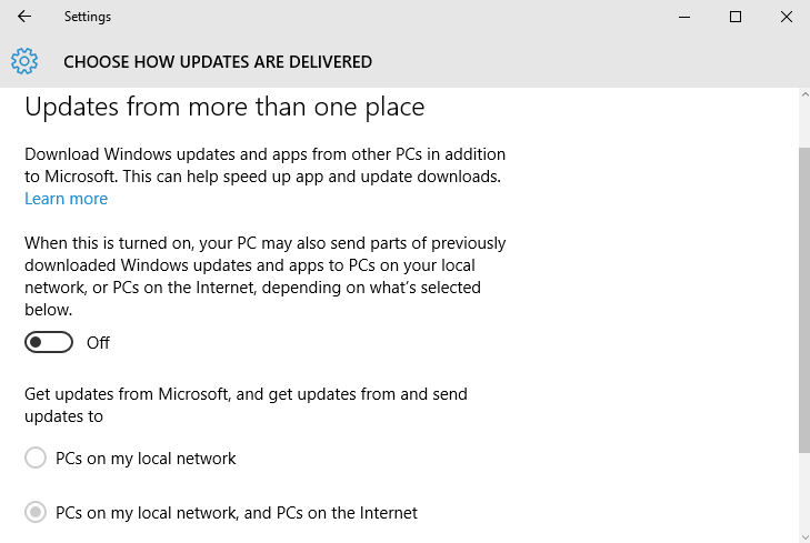Disable Download Updates from More Than One Place