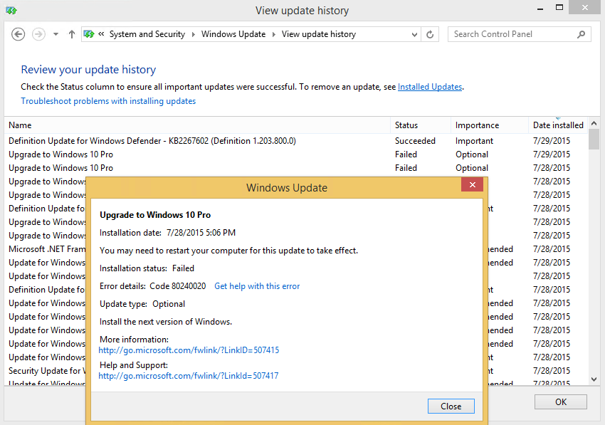 Upgrade to Windows 10 Failed in Windows Update History
