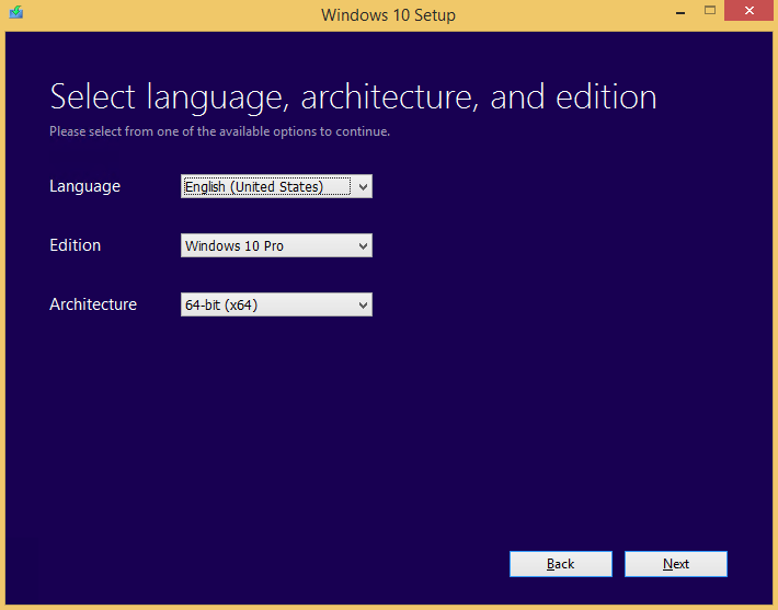 Select Windows 10 Edition and Language to Download