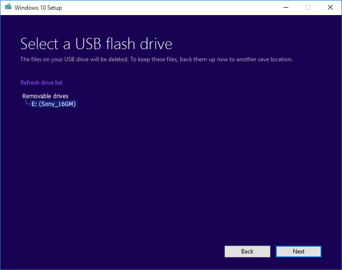 Select a USB Removable Drive to Create USB Windows 10 Media