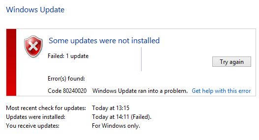 Windows 10 Upgrade Error 80240020