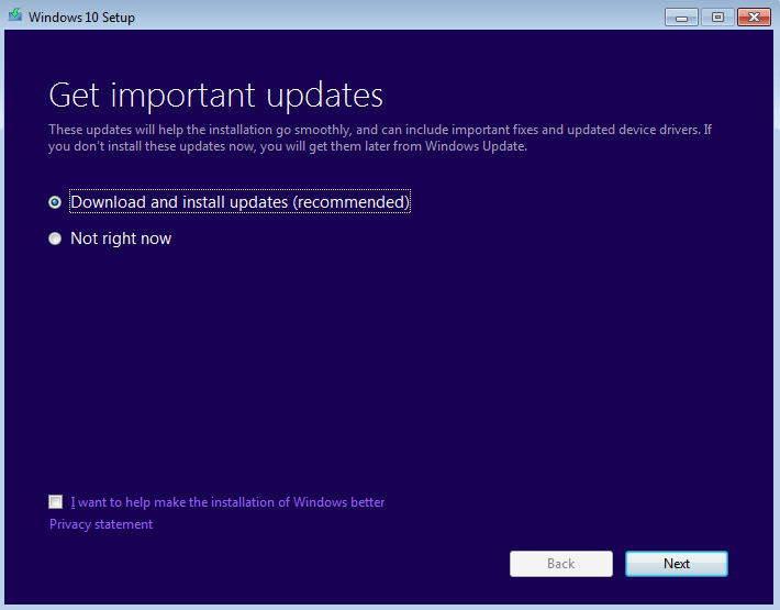 Windows 10 Upgrade - Download and Install Updates