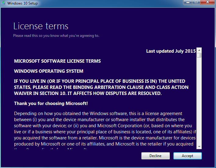 Accept Windows 10 License Terms